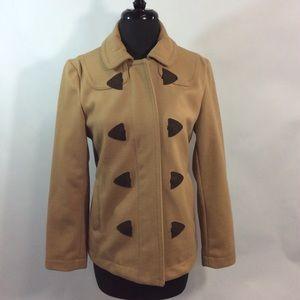 Gap Small Wool Blend Tan Coat Zip Front Pockets